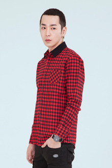 GINGHAM RED SHIRTS배색 깅엄체크 셔츠[one color / 2size]