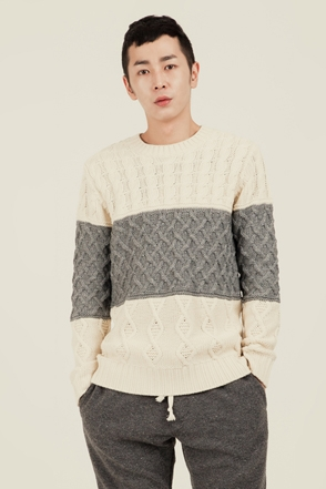 LINE COMBI FISHERMAN KNIT배색 짜임 피셔맨 니트[3color / one size]