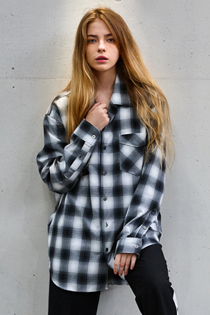 AWESOME IMAGINATION TAILORED LOOSE CHECK SHIRTS Black