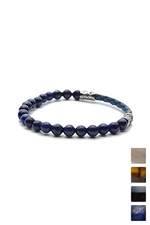 LEATHER BALL BRACELET 가죽 원석 팔찌 [4color / one size]