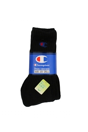 Champion/챔피언 3 Pack Sports Socks (Black)