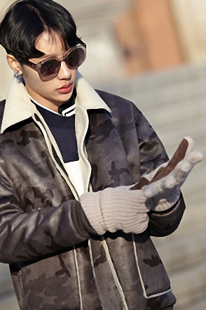 KNIT LEATHER GLOVE레더 니트 장갑[3color / one size]